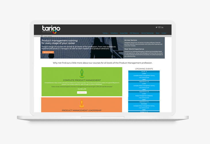 Tarigo Desktop view